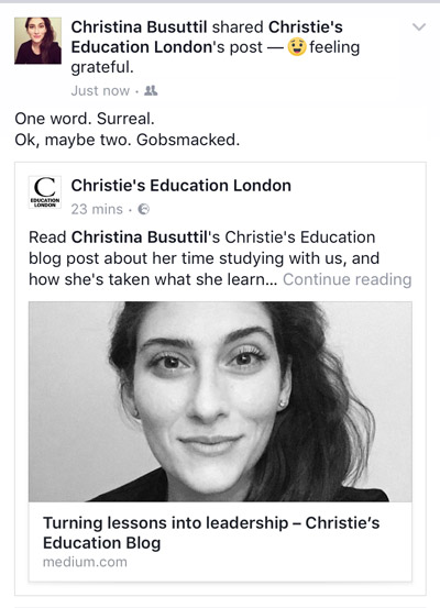 Christie's mentions Christina Busuttil's progress and ARTEMISIA
