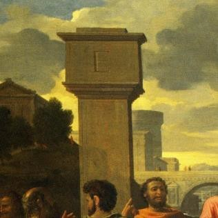 Fig. 6 Poussin's original and Châtillon's tower with the 'E' (left, centre-left respectively) Pesne's Engraving and Copy's tower without the 'E' (centre-right, right respectively)