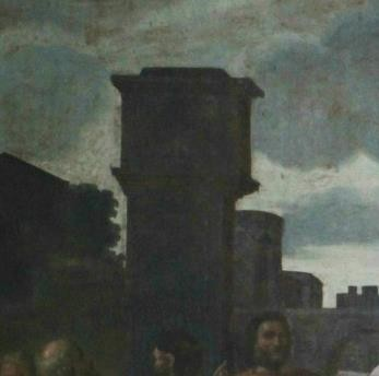 Fig.6.4 Poussin's original and Châtillon's tower with the 'E'